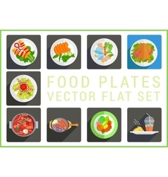Main dishes flat icons vector