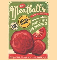 meatballs flyer made for fast food restaurants vector image