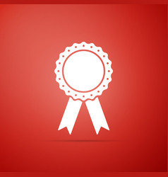 medal badge with ribbons icon on red background vector image