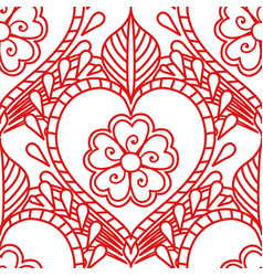 Mehendi seamless pattern of red lines on a white vector