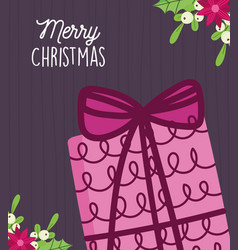 Merry christmas celebration gift box flowers vector