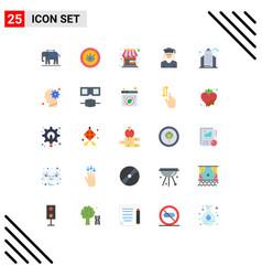 Mobile interface flat color set 25 pictograms vector