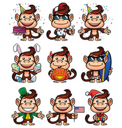 monkey holiday set vector image