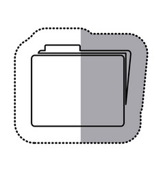 Monochrome contour sticker of folder icon vector