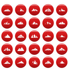 mountain icons set vetor red vector image