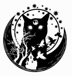 Night cat ravens vector