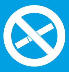 No smoking sign icon white vector