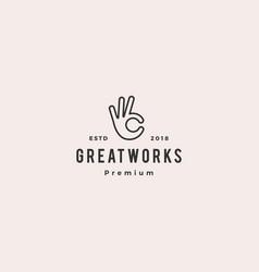 ok hand gesture icon logo line outline monoline vector image