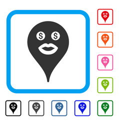 Prostitute smiley map marker framed icon vector