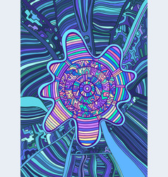 Psychedelic colorful surreal doodle background vector
