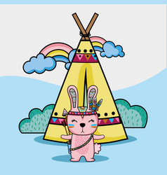 Rabbit tribal animal with camp and rainbow vector