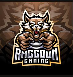 raccoon gaming esport mascot logo vector image