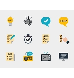 Raffle prizes and quiz flat icons vector image