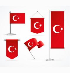 realistic 3d detailed turkey flag banner set vector image