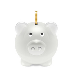 realistic 3d white retro piggy bank closeup vector image
