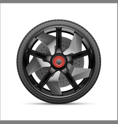 realistic black gray car wheel alloy kevlar vector image