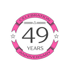 Realistic forty nine years anniversary celebration vector