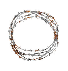 Realistic hank of old metal barbed wire with red vector