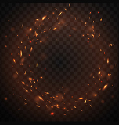 Round fire sparks frame with burning embers in air vector