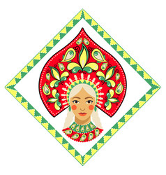 russian beauty in kokoshnik vector image