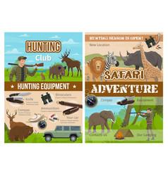 safari hunting animals hunter gun and equipment vector image