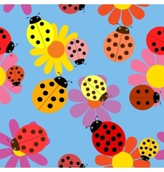 Seamless ladybugs and flowers vector image vector image