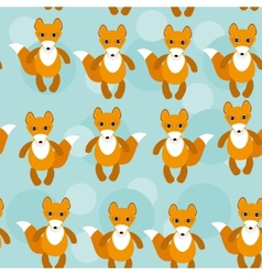 Seamless pattern with funny cute fox animal on a vector image