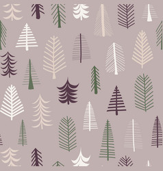 seamless repeat christmas tree pattern tile purple vector image