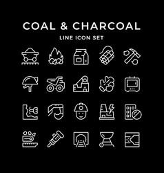 set line icons coal and charcoal vector image