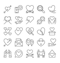set love concept icons or logo elements in vector image