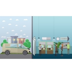set of banking concept design elements in vector image