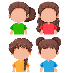 set of brunette female character vector image