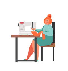 sewing business people flat isolated vector image