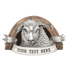 sheep farm logo hand draw vintage engraving style vector image