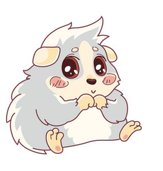 Shy cavy with rosy cheeks sitting with paws vector