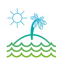 silhouette island with palm tree with sun and vector image