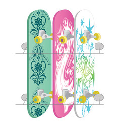 skateboard collection isolated on white vector image