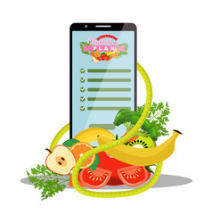 Smartphone with app diet plan on screen and vector