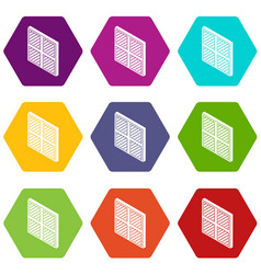 square window frame icons set 9 vector image