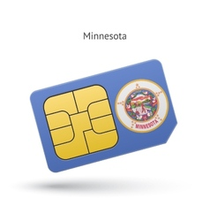 State of Minnesota phone sim card with flag vector