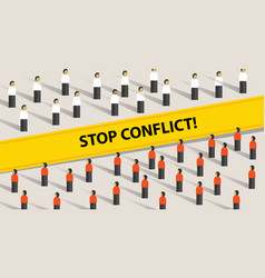 Stop conflict of two crowd mediation problem fight vector