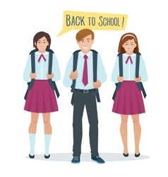 Students boy and girl in school uniform vector