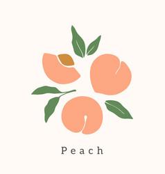 Stylish peach design contemporary art print vector