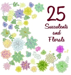 Succulent garden clip art flowers element set vector
