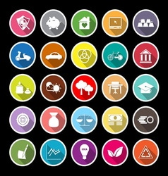Sufficient economy flat icons with long shadow vector