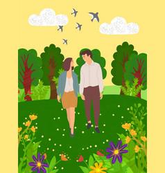 summer landscape happy dating lovers walk together vector image