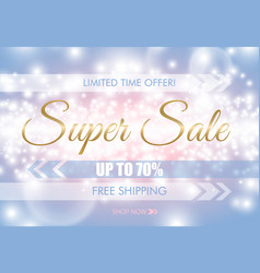 super sale glow sparkling web banner golden text vector image
