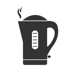 The gray electric kettle icon vector