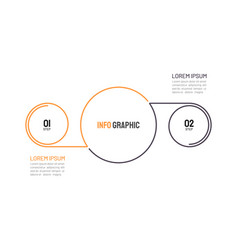 thin line infographic 2 options or steps vector image