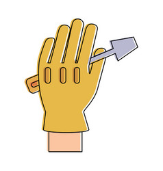 tool held by hand with glove icon image vector image